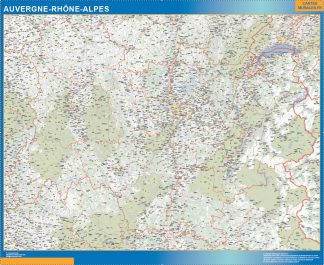 Biggest Region of Auvergne-Rhone-Alpes map