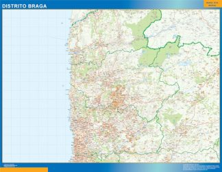 Biggest Region of Braga map in Portugal