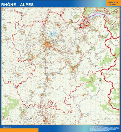 Biggest Rhone Alpes laminated map