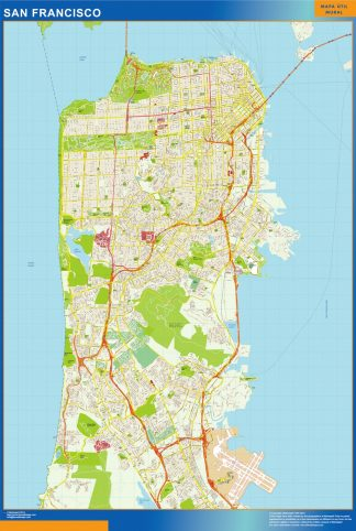 Biggest San Francisco wall map