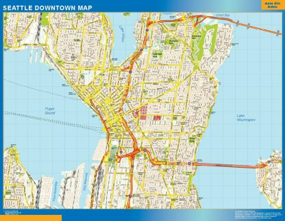 Biggest Seattle downtown map