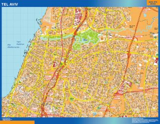 Biggest Tel Aviv laminated map