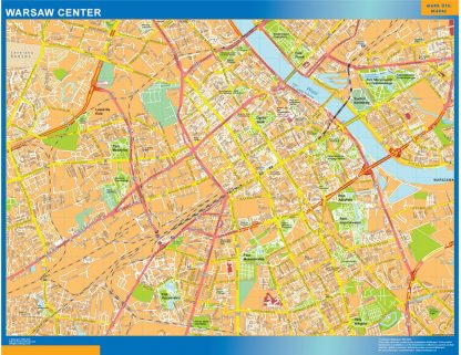 Biggest Warsaw downtown map