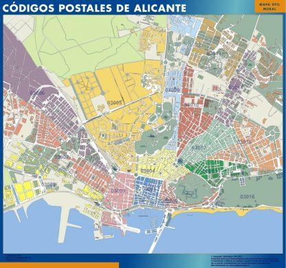 Biggest Zip codes Alicante map