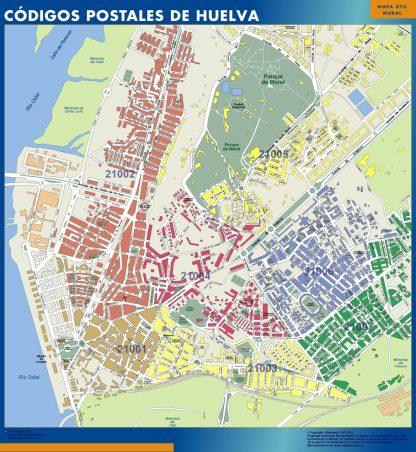 Biggest Zip codes Huelva map