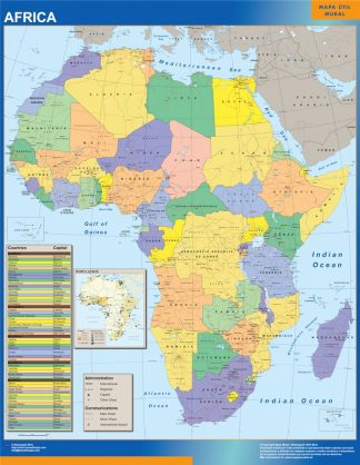 Biggest africa political wall map