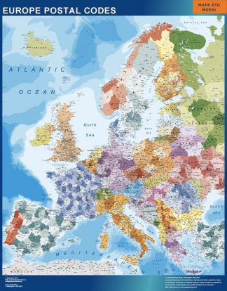 Biggest europe postal codes wall map