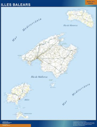 Biggest map of Balears islands roads