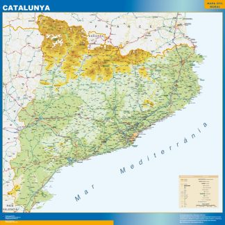 Biggest map of Catalonia physical