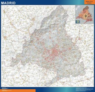 Biggest map of Community Madrid physical