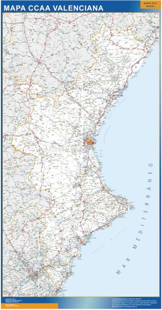 Biggest map of Community Valenciana roads
