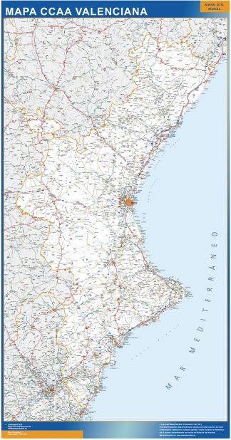Biggest map of Community Valenciana roads