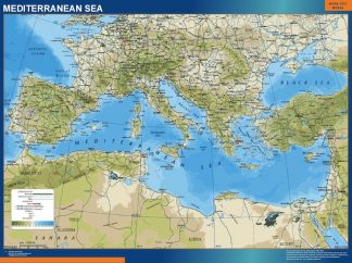 Biggest mediterranean wall map