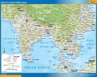 Biggest south eastern asia wall map